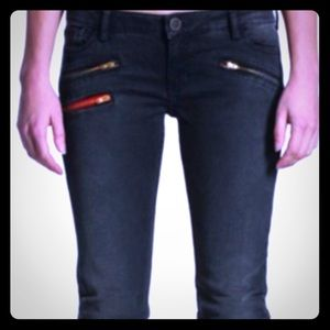 Etienne marcel black moto skinny jeans